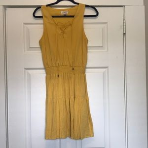 Yellow smocked waist dress